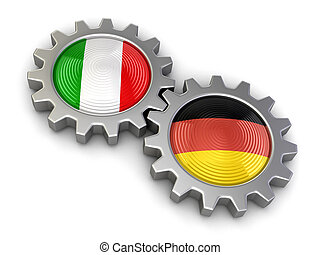 Italian and German flags on a gears Image with clipping path...