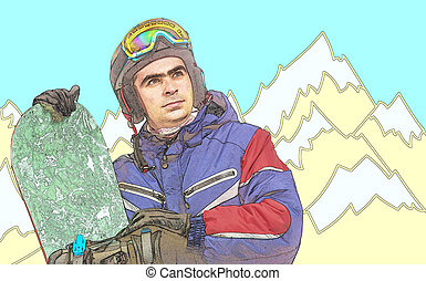 Male snowboarder with the board Comic style