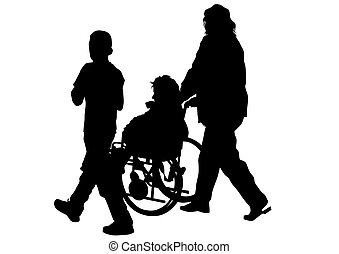 Wheelchair people - Silhouettes wheelchair and women on...