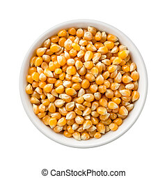 Popcorn Kernels Uncooked in a Ceramic Bowl The image is a...