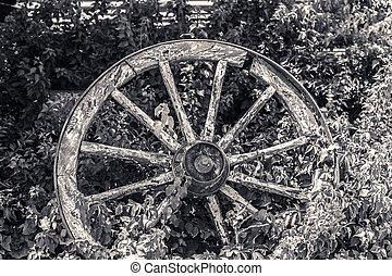 Old broken wagon wheel in flower bed