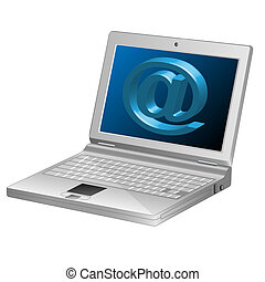 Computer-Email symbol-Laptop-3d - Illustration of computers...