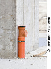 Sewer pipe in concrete structure