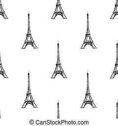 Seamless background texture. Paris France Eiffel tower on the white