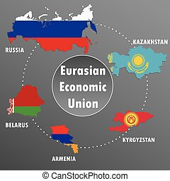 Eurasian Economic Union,countries, infographics, map,flag...