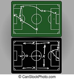 Football tactics and movement of players, charts,...