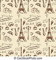 Paris landmarks and icons seamless background, - Paris...