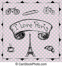 Vector hand drawn illustration with Paris symbols.