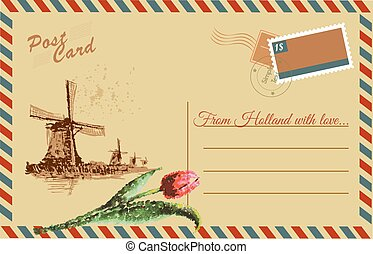 Vintage postcard with Netherlands windmill