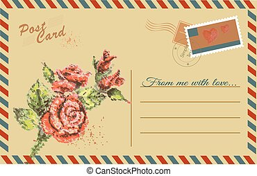 Vintage postcard with  Rose flower