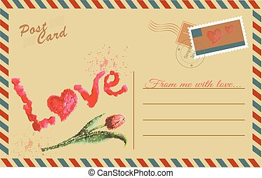 Vintage postcard with Tulip and Love