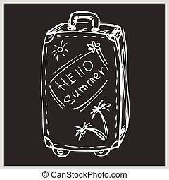The suitcase with the words hello summer, hand drawing