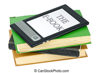 Ebook reader and traditional paper books isolated on the...