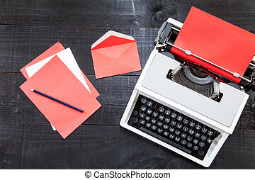 Red typewriter - The image represents a retro typewriter and...
