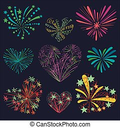 Festive patterned firework in the shape of a heart.