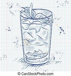 Cocktail Mint julep on a notebook page - Classic Kentucky...