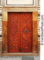 door - old wooden studded door