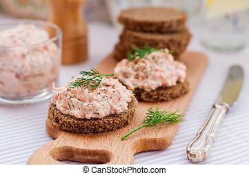 Smoked Salmon, Cream Cheese, Dill and Horseradish Pate on...
