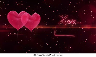 Happy valentines day greetings on red background with heart...