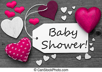 Black And White Label With Pink Hearts, Text Baby Shower -...
