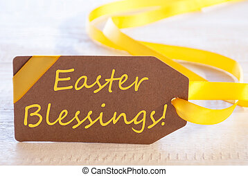 Label With Text Easter Blessings - One Brown Label With...