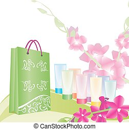 green shopping bag and color tubes
