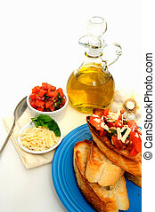 Bruschetta With Olive Oil - Bruschetta on a turquoise plate...