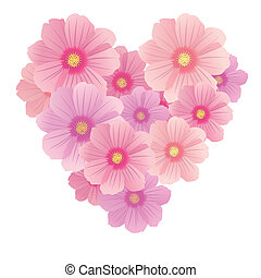 Vector spring background with gentle heart from flowers and...