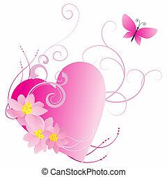 rosa, corazón, con, flores, y, mariposa, aislado, en,...