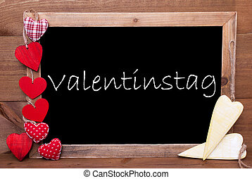 One Chalkbord, Red And Yellow Hearts, Valentinstag Mean...