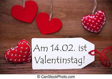One Label With Romantic Hearts Decoration, Valentinstag Mean...