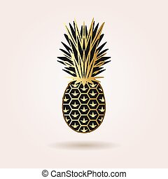 Black and golden abstract pineapple - Single black and...