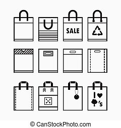 Shopping and reusable bags icons set - Linear shopping...