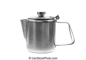 Silver simple coffee percolator isolated on white...