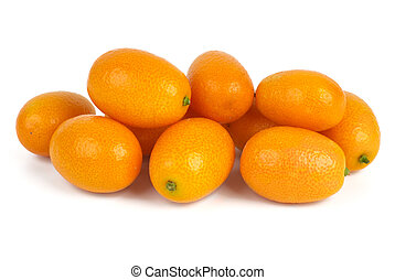Few kumquats isolated on the white background
