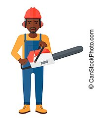Cheerful lumberjack with chainsaw - A lumberjack holding a...