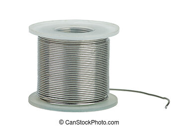 Spool of soldering alloy isolated on the white background