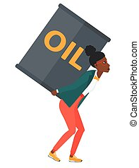 Woman with oil can.