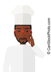 Chef pointing forefinger up. - A cheerful chief-cooker in...