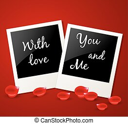 Photo and red rose petals - Romantic background with photo...
