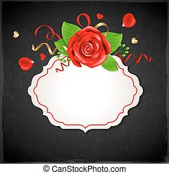 Banner with red rose