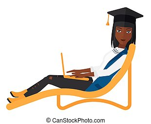 Graduate lying in chaise lounge with laptop - A woman in...