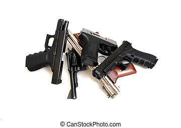 Handguns - Black guns, Pistols and revolver isolated on a...