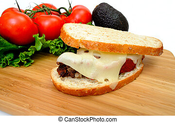 Meatloaf Sandwich - Sourdough bread and meatloaf with melted...