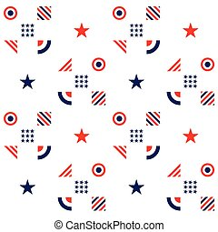 Fourth of July -Independence Day. American seamless pattern in traditional red, blue and white colors. Vector illustration.