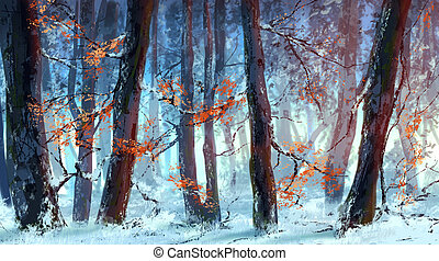 winter forest - Picture of winter forest at sunset
