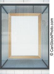 Blank wooden frame in a shop window, mock up