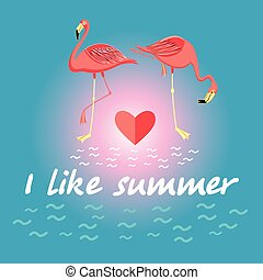 Background with flamingos and a slogan about summer -...