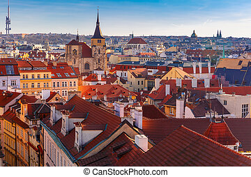 Aerial view over Old Town in Prague, Czech Republic
