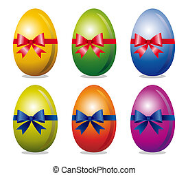 Set of easter eggs - Colorful easter eggs with bow over...